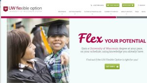 "UW Flexible Option website page inviting students to ""Flex your potential: Earn a University of Wisconsin degree at your pace, on your schedule, using knowledge you already have."""