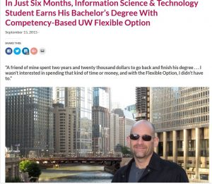 A UW Flexible Option student standing in downtown Chicago is the subject of a blog post