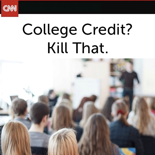 CNN article by Amy Laitinen on College Credit? Kill That. posted in higher education policy section of the UW Flexible Option case study website about the University of Wisconsin System and UW-Extension development of a direct assessment competency-based education program