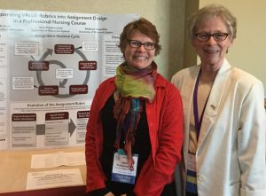 Alice Pulvermacher of the University of Wisconsin System and Diane R. Smith of UW-Milwaukee's nursing program stand in front of their poster about critical thinking VALUE rubrics.