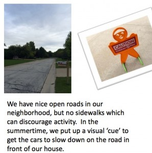 Momentum buliders: Photographs of a road and a description of the photographs written by the instructor