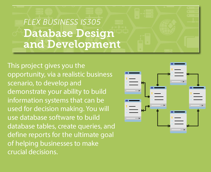 "Flex Business IS305 Database Design and Development Description that says ""This project gives you the opportunity, via a realistic business scenario, to develop and demonstrate your ability to build information systems that can be used for decision making. You will use database software to build database tables, create queries, and define reports for the ultimate goal of helping businesses to make crucial decisions."""