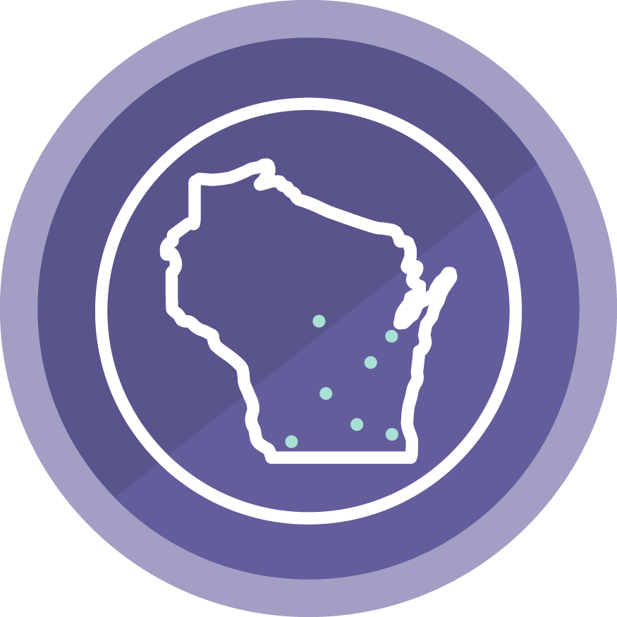 Wisconsin state outline in a purple circle