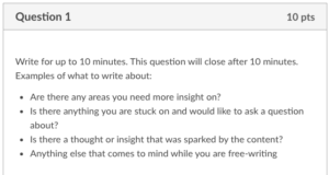 The following is the prompt for the Ten-Minute Check-in: Write for up to 10 minutes. This question will close after 10 minutes. Examples of what to write about: Are there any areas you need more insight on? Is there anything you are stuck on and would like to ask a question about? Is there a thought or insight that was sparked by the content? Anything else that comes to mind while you are free-writing